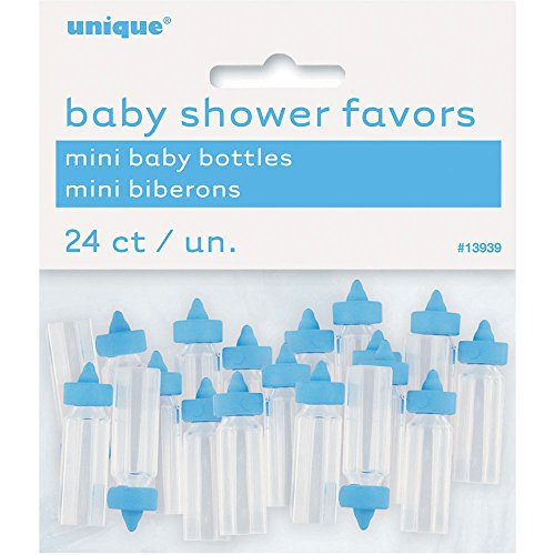 Mini Plastic Blue Baby Bottle Boy Baby Shower Favor Charms, 24ct ()