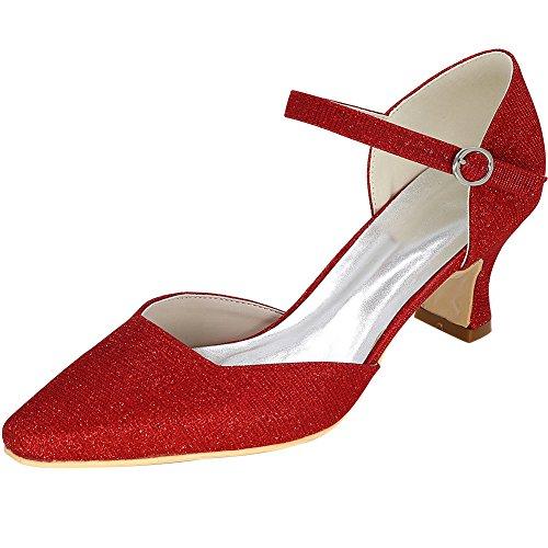 Loslandifen Damess Punt Hoge Hakken Elegante Glitter Pumps Bruids Schoenen Rood