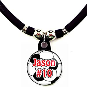 Soccer/Football Personalized Necklace with Your Name and Number, PERSONALIZE BY EMAIL