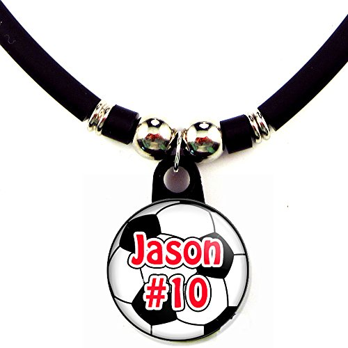 (SpotlightJewels Soccer/Football Personalized Necklace with Your Name and Number, Personalize by)