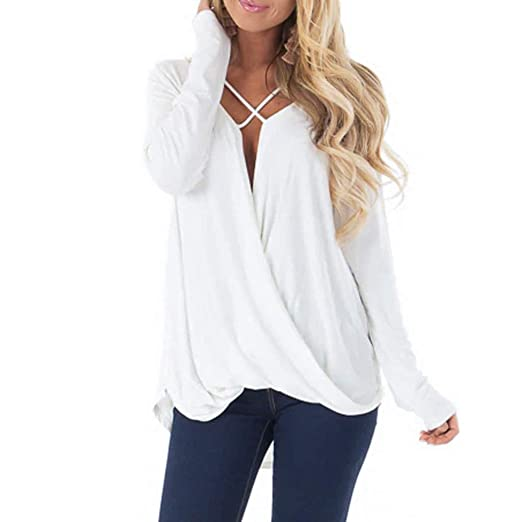 f46901ad9ca5ed FimKaul Womens Sexy V Neck Wrap Front Loose Fit Blouse Top White Long  Sleeve Shirts (