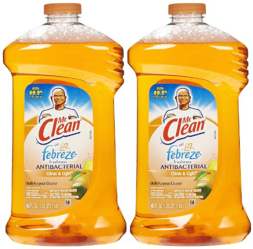 Mr. Clean with Febreze Freshness Antibacterial Liquid Cleaner - 40 oz - Citrus & Light - 2 (Antibacterial Multi Purpose Cleaner)