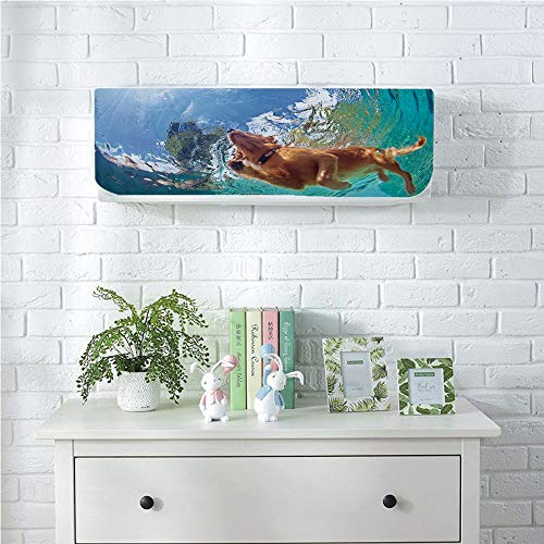 Indoor Wall Hanging Air Conditioner Cover Dustproof Cover,Funny,Underwater Photo of Golden Labrador Retriever Puppy Swimming in Pool Happy Decorative,Cinnamon Turquoise,for Home Decoration