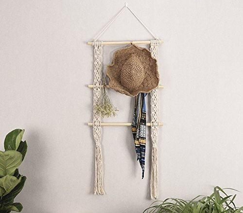 """RISEON Boho Rustic Wood Macrame Floating Hanging Wall Display Shelf Organizer Hanger - Showcase your style with this rustic-chic floating shelves. Decorative and functional. Product dimensions: 39""""L x 19.6""""W Material: Made of cotton cord and beech wood - wall-shelves, living-room-furniture, living-room - 51GW5oPj 6L -"""
