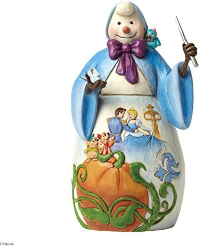 Disney Traditions by Jim Shore Christmas Snowman Cinderella Fairy Godmother Stone Resin Figurine, 7