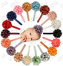 Chiffon Petal Flower Baby Headband Set  18 Pack by ZELDA MATILDA  LARGE