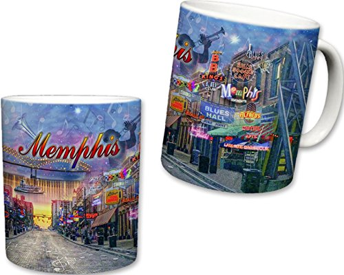 (Sweet Gisele | City of Memphis Inspired Mug | Ceramic Coffee Cup | Downtown Streets | Home of the Blues | Music Note Accents | Colorful Detailing | Nightlife Scenery)