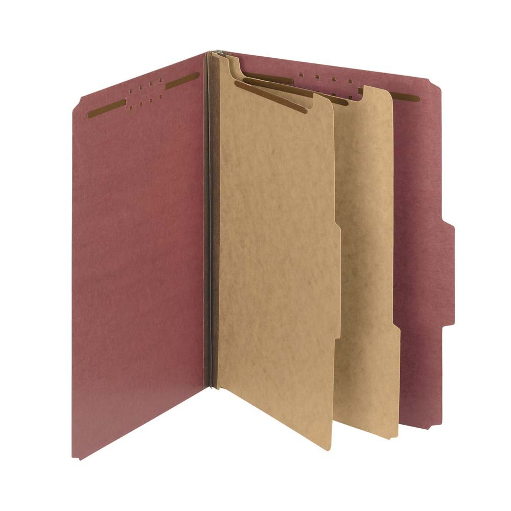 Smead 100% Recycled Pressboard Classification File Folder, 2 Dividers, 2'' Expansion, Letter Size, Red, 10 per Box (14024)