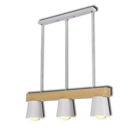 Lámpara Colgante Lámpara De Suspensión Lámpara De Techo Blanco Nórdico Lámpara De Metal Y Madera Deco Lámpara 3 Llamas Altura Ajustable Diseño Moderno ...