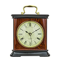Mantel Clock 8.5 H x 8.5 L x 3.5 W Quartz, Decorative Shelf Clock, Fireplace Wood Antique Vintage Clocks, Battery Operated (Battery NOT INCLUDED)