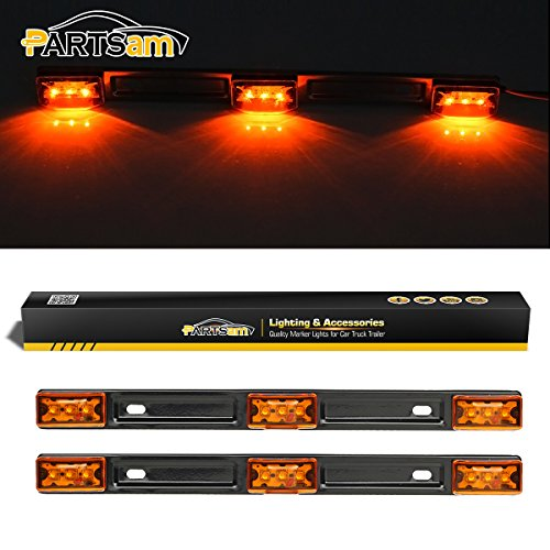 Partsam Amber LED ID BAR Light (3) 3-Diode light Surface Mount Trailer Waterproof 12V, Sealed Amber Light Strip 3-Light Truck and Trailer Identification Light Bar w Black Base