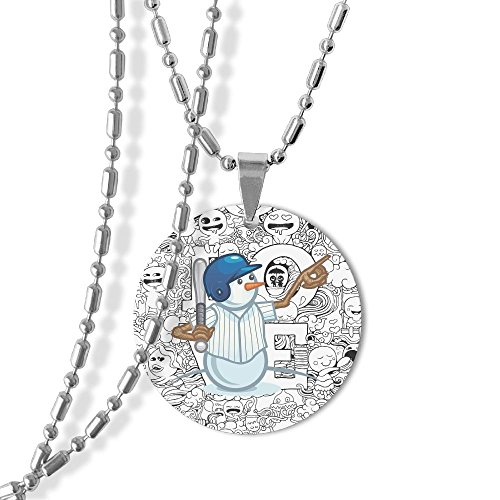 Baseball Snowman Dog Tag Round Pendant Necklace,23 Inch Chain,Titanium-Lined-Aluminum