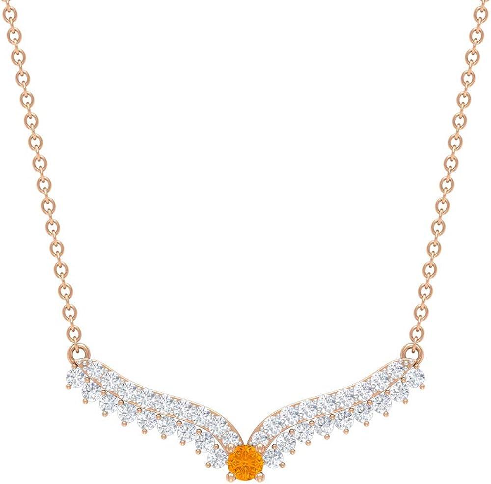 Colgante de zafiro naranja, HI-SI de diamante Chevron collar de 1/2 quilates, collar con colgante de oro (2,50 mm redondo de zafiro naranja creado en laboratorio)