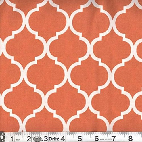 Quatre Pieces (Quatrefoil Fabric White on Burnt Orange 100% Cotton by the Yard)