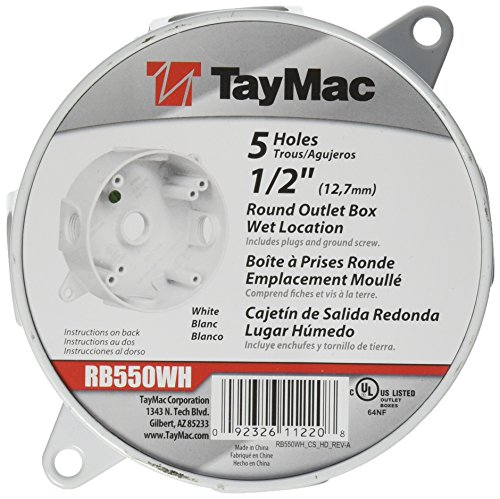 TayMac RB550WH Weatherproof Box, Round - (5) 1/2-Inch Outlets, White - Outdoor Light Boxes
