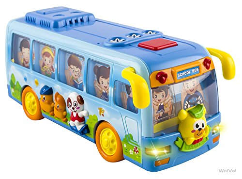 Bus Toys For Girls : Wolvol shaking blue mini school bus toy for toddlers boys