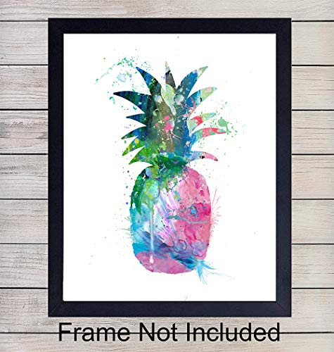 Tropical Pineapple Watercolor Wall Art Print - 8x10 Unframed Photo - Perfect Gift, Chic Home Decor for Beach House