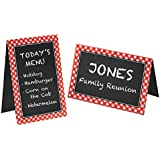 "Delightful Picnic Party Red Plaid Chalkboard Tent Cards Decoration, Paper, 4"" x 6"", Pack of 8"