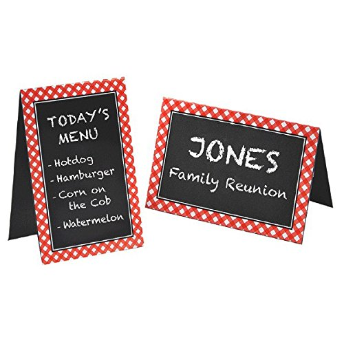 "Amscan Delightful Picnic Party Red Plaid Chalkboard Tent Cards Decoration, Paper, 4"" x 6"", Pack of 8"