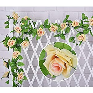 CHANMOL Fake Rose Vine, 4pcs Artificial Rose Flowers Plants Hanging Rose for Wedding Party Garden Home Wall Décor 27