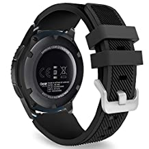 MoKo Gear S3 Frontier / Classic Watch Band, Soft Silicone Replacement Sport Strap for Samsung Gear S3 Frontier / S3 Classic / Moto 360 2nd Gen 46mm Smart Watch, NOT FIT S2 & S2 Classic & Fit2, BLACK