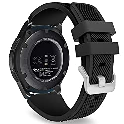 Gear S3 Frontier Classic Watch Band, Moko Soft Silicone Replacement Sport Strap For Samsung Gear S3 Frontier S3 Classic Moto 360 2nd Gen 46mm Smart Watch, Not Fit S2 & S2 Classic & Fit2, Black