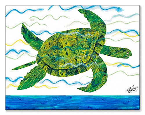 (Oopsy Daisy Eric Carle's Sea Turtle Canvas Wall Art, 18x14, Blue)