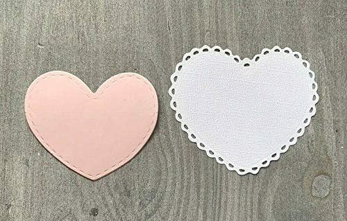 2 St/ück Simplelettering Stanzschablone//Cutting Dies Herz Duo mit Spitzenrand bis 8x9 cm