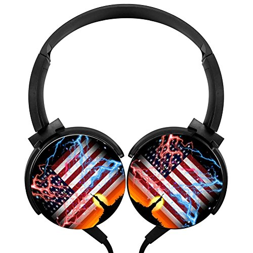 USA Flag Wired Headsets Headphones Axis Rotation Hi-Fi 3D DIY Printing Heavy Bass Stereo Headsets (Skull Instrument Cable)