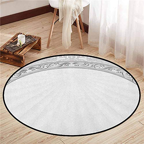 Round Carpet,Damask,Curvy Band with Abstract Baroque Ornaments Victorian Vintage Corner Framework,Sofa Coffee Table Mat,2'11
