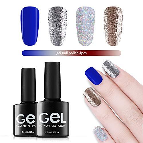 Glitter Gel Nail Polish,UV LED Soak Off Sparkly Gel Polish,Renstorm Bling Colors Nail Varnish Manicure,Shining Gel Lacquer With 4Pcs