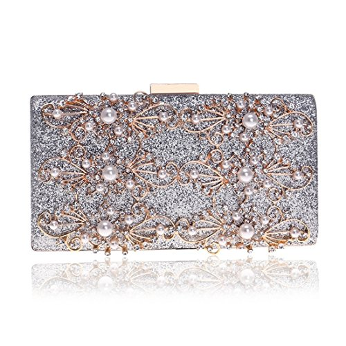 JESSIEKERVIN Crossbody Bag Clutch Evening Shoulder Silver Ladies Diamond Purse Banquet Bag qzEzrw