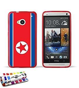 Carcasa Flexible Ultra-Slim HTC ONE / M7 de exclusivo motivo [Bandera Corea del Norte] [Roja] de MUZZANO  + ESTILETE y PAÑO MUZZANO REGALADOS - La Protección Antigolpes ULTIMA, ELEGANTE Y DURADERA para su HTC ONE / M7