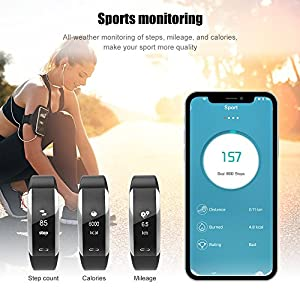 Fitness Tracker, KINGBERWI Slim Heart Rate Monitor Activity Tracker, Waterproof Smart Bracelet Bluetooth Wristband Blood Pressure Watch with Sleep Monitor for Kids Girls Men Android iPhone (Sliver)