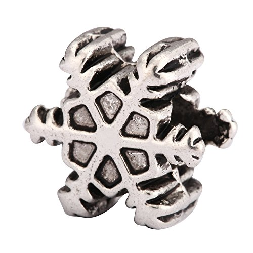 5 x Snowflake Charms Beads Antique Silver Tone for European Charm Bracelet #MEC-10