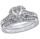 MABELLA Jewelry 2.35 Carat Halo Heart Shaped Cubic Zirconia White CZ 925 Solid Sterling Silver Wedding Band Engagement Ring Set For Women