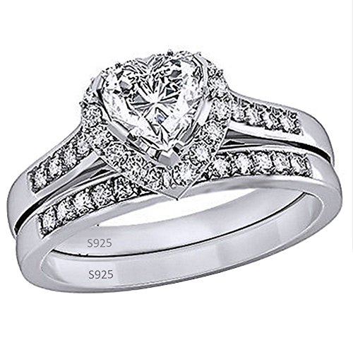 MABELLA Jewelry 2.35 Carat Halo Heart Shaped Cubic Zirconia White CZ 925 Solid Sterling Silver Wedding Band Engagement Ring Set For - Rings Wedding Shaped Heart