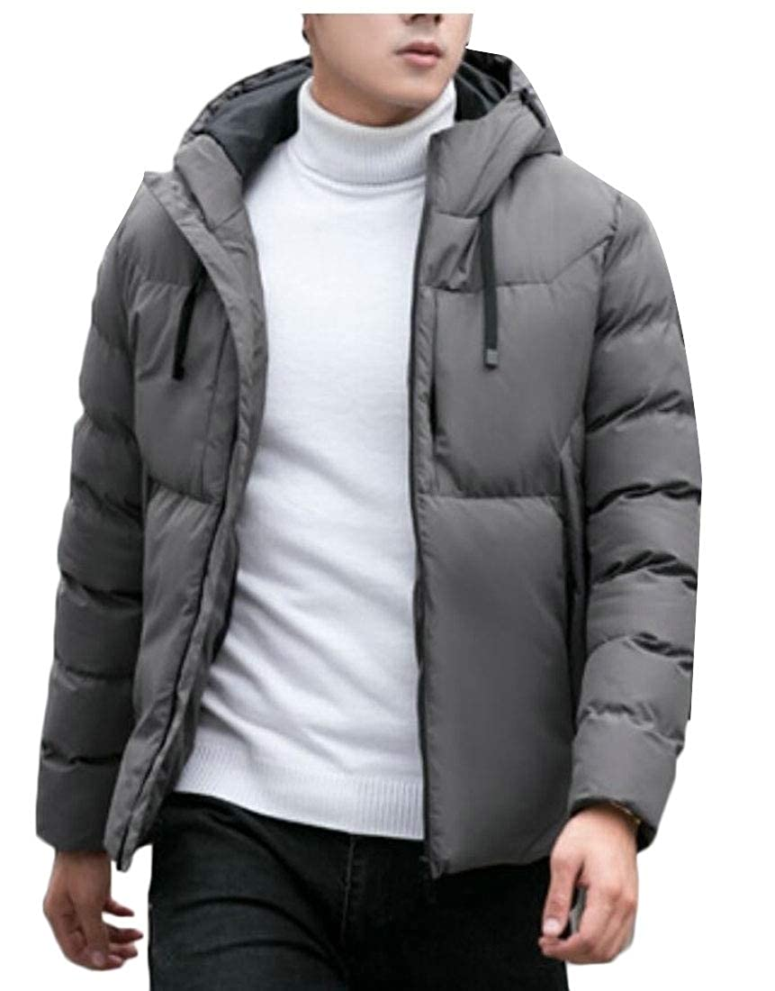 UNINUKOO Unko Mens Winter Jacket Thicken Hooded Solid Quilted Cotton Coat
