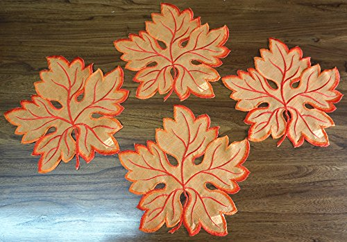 (1 Set of 4 Pcs, Spring Color Placemats Maple Leaves Placemats for Home Dinner Room Decoration ,Round 11 inch (4, Orange red))
