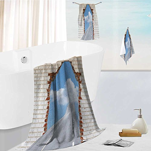 Analisahome 3-Piece Luxury Hotel/Spa 100% Turkish Cotton Striped Towel Set highway going through a broken brick wall concepts for success Hand Towels and Washcloths