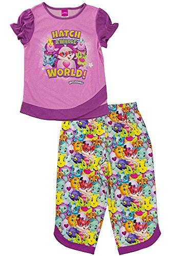 Hatchimals Girls' Little 2-Pc Pajama Set, Long Sleeve W/Pant, Pink/Print, - Tailored Pajamas Print