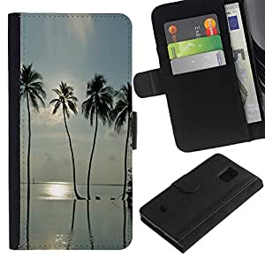 iKiki Tech / Cartera Funda Carcasa - Sea Summer Sun Surf Miami - Samsung Galaxy S5 Mini, SM-G800, NOT S5 REGULAR!