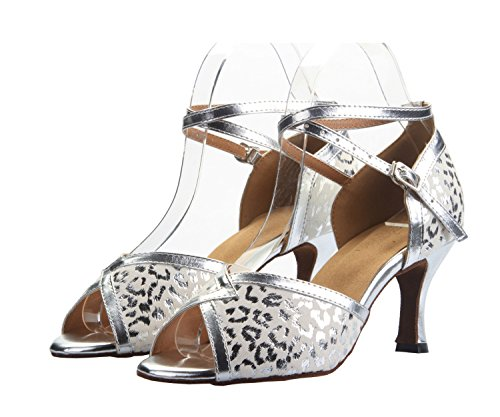 Dance QJ809 5 Sandals Heel Salsa Womens Party Latin Silver M Ballroom 3 Tango PU Leather 2 Inch MINITOO Wedding UK 6ZgAcdpWqA