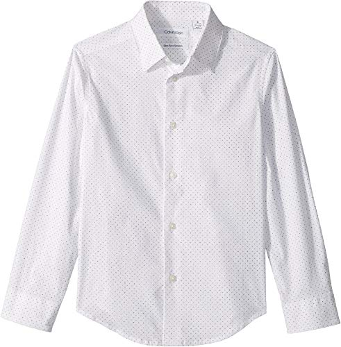 Calvin Klein Big Boys' Long Sleeve Fashion Print Woven Shirt, Print White, - Shirt Boys Micro