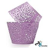 A&S Creavention Vine Cupcake Holders Filigree Vine Designed Decor Wrapper Wraps Cupcake Muffin Paper Holders - 50pcs (Purple)