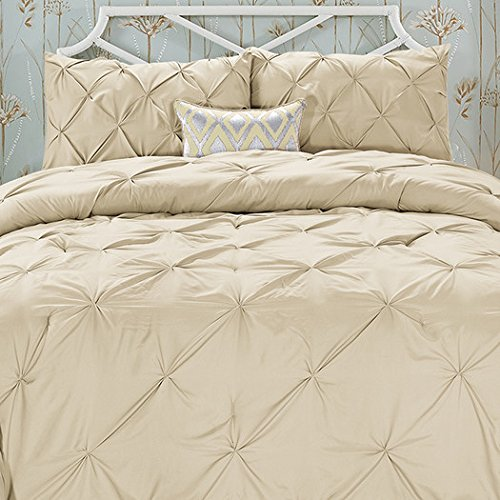 All Season Luxury Silky Soft Pintuck 3-Piece Comforter Set - King Taupe