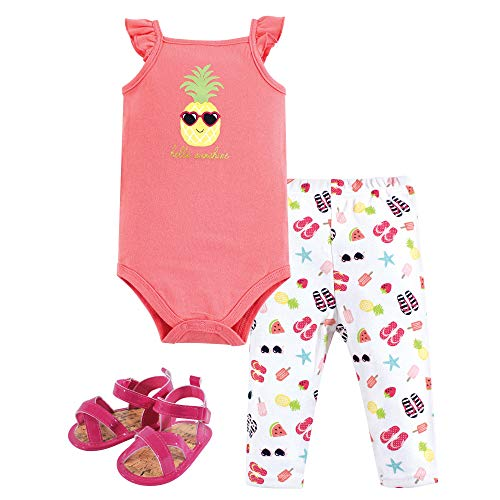 Hudson Baby Unisex Baby Bodysuit, Bottoms and Shoes, Sunshine 3-Piece Set, 6-9 Months (9M)