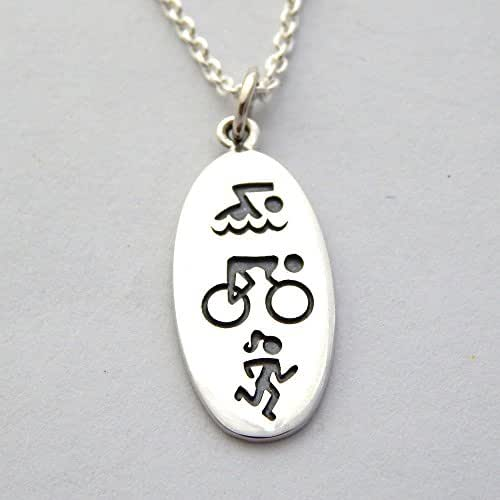 "Triathlon Necklace Sterling Silver Swim Bike Run Symbol Charm Woman Triathlete Necklace, 18"""