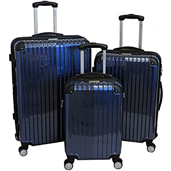Image of Luggage American Green Travel TSA Lock 3-Piece Hardside Spinner Luggage Set, Blue