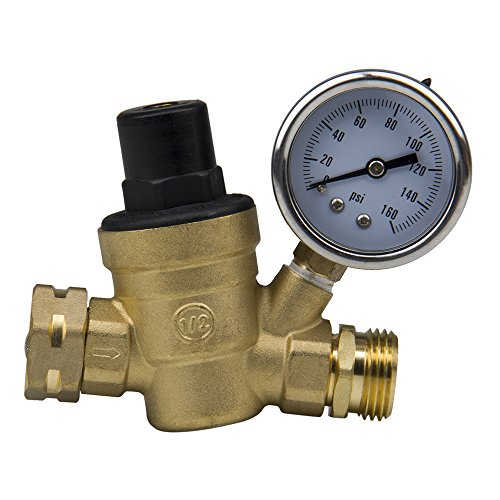 Hose Screened Washer (iMeshbean Brass Water Pressure Regulator Adjustable Water Pressure Reducer for RV with Gauge & Inlet Stainless Screened Filter, Lead-free USA)